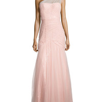 Women's One-Shoulder Sequined-Lace Tulle-Overlay Gown - ML Monique Lhuillier - Blush