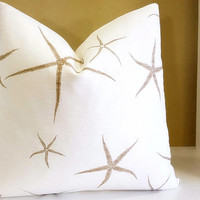 Starfish Pillow Cover - Nautical themed pillow - Available in multiples sizes - 16 inch to 24 inch pillow covers Select your size