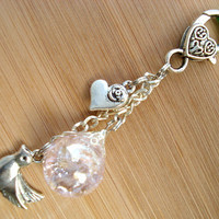 Dove Love Pink Crackle Glass Marble Romantic Keychain
