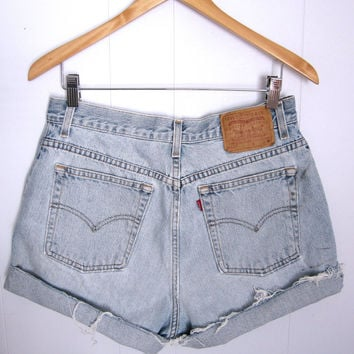Vintage Levi's High Waisted Cut Off Denim Shorts Blue Jean Distressed 31""