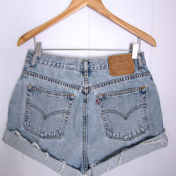 Vintage 90's Levi's Distressed High Waisted Cut Off Denim Shorts Blue Jean 31""