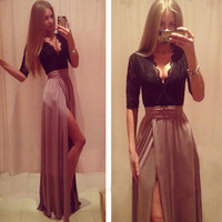 Hot New Lady Sexy Lace Bandage Party Clubwear Women Long Sleeve Maxi Long Side Slit Dress