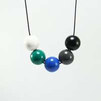 Round Beads Necklace - Chunky Bubble Handmade Modern Geometric Jewelry - White, Emerald Green, Royal Blue, Grey, Black Beads