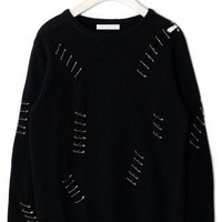 Clip Shredded Jumper in Black by Chic+ - New Arrivals - Retro, Indie and Unique Fashion
