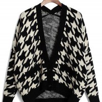 Houndstooth Intarsia Fairisle Cardigan in White/Black - New Arrivals - Retro, Indie and Unique Fashion