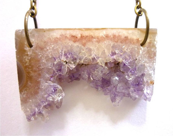 Amethyst Crystal Quartz Asymmetrical Bar Slice Druzy Necklace n.24 by AstralEYE