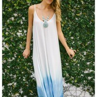 Walker- white maxi dress with blue ombre bottom and deep scoop neck