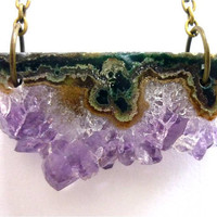 Amethyst Crystal Quartz Asymmetrical Bar Slice Druzy Necklace n.22 by AstralEYE
