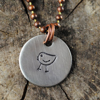 Little Bird Necklace, Hand Stamped Nickel Silver Charm, Oxidized Copper Ball Chain