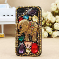 FREE SHIPPING Apple iPhone 4S 4G Vintage Bling Crystal Metal Elephant Hard Skin Case Cover