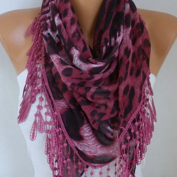 Burgundy Leopard Scarf Spring Mother's Day Gift Shawl Oversized Necklace Cowl Scarf Cotton Gift Ideas for Her Women Fashion Accessories