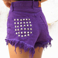 """GRAPE"" SUPER RAD FESTIVAL HIGH WAISTED SHORTS VINTAGE PURPLE DENIM"