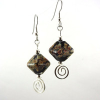Raku Crystals Lampworked Glass Bead Earrings by MercuryGlass