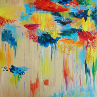 STUNNING Abstract Acrylic Painting HUGE 30 x 30 Vancouver FREE Shipping Rain Original Colorful Rainbow Rainy Storm Cloud Canada Gift Art Wow