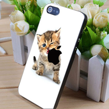 cat eat apple logo iphone 4/4s/5/5c/5s case, cat eat apple logo samsung galaxy s3/s4/s5, cat eat apple logo samsung galaxy s3 mini/s4 mini, cat eat apple logo samsung galaxy note 2/3