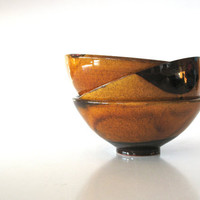 ceramic bowl - saffron yellow glazed bowl - glazed pottery - wheel thrown bowl - rustic decoration - ready to ship