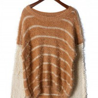 Contrast Sleeve Striped Jumper in Chocolate - Sweaters - Tops - Retro, Indie and Unique Fashion