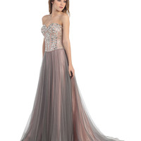 Taupe Strapless Sweetheart Embellished Bodice Dress 2015 Prom Dresses