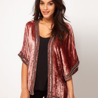 Velvet Kimono With Beaded Trim