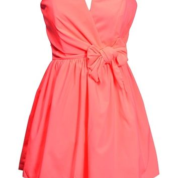 Coral Strapless Dress - Kely Clothing