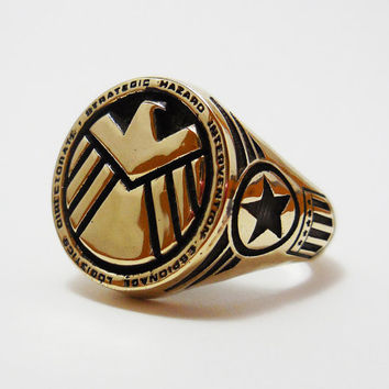 Brass Agents of Shield ring