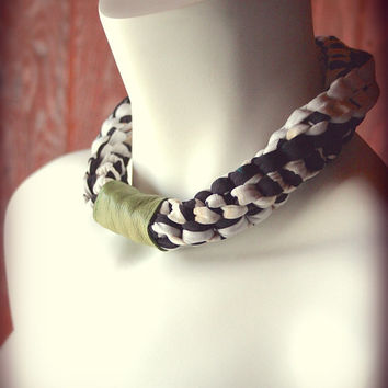 braided jersey necklace - stretch choker in black and white abstract jersey with spring green leather loop - ready made by Needless Studio