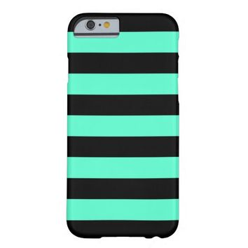 Black and Mint Stripes - iPhone 6 Case