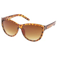 Gold-Trimmed Cat Eye Sunglasses by Charlotte Russe - Brown Combo
