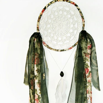 Floral dream catcher, green, white, wall hanging, bedroom decor, white feathers, beads, crochet doily, handmade