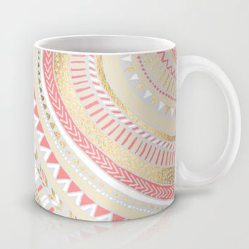 Coral + Gold Tribal Mug by Tangerine-Tane