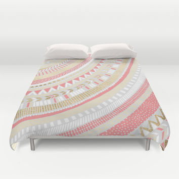 Coral + Gold Tribal Duvet Cover by Tangerine-Tane