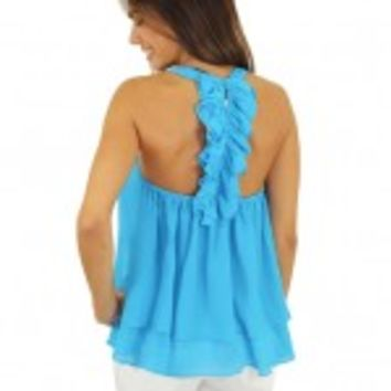 Neon Blue Top With Ruffle Back