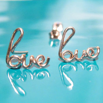 14K Rose Gold Filled Love Earrings, Gold Love Studs, Word Earrings, Valentine's Day Gift, Sterling Silver Love Earrings, Mother's Day Gift
