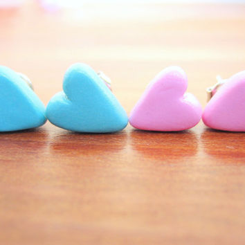 Heart Stud Earrings, Pink Heart Earrings, Blue Heart Earrings, Polymer Clay Heart Studs
