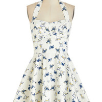 ModCloth Pinup Short Length Halter Fit & Flare Traveling Cupcake Truck Dress in Dogs