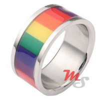 Stainless Steel Rainbow Film Ring 8