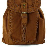 Chicwish Camel Knit Backpack Brown