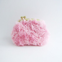 Gold Frame Coin Purse- pink fur kiss lock