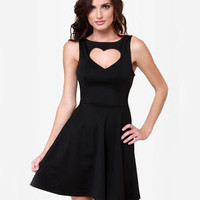 Cute Cutout Dress - Black Dress - Skater Dress - $37.50