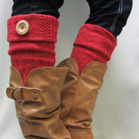 NEW Buy 4 get 1 FREE  Boot cuffs boot toppers cable knit w real wood button stocking stuffers secret santa gifts Catherine Cole Studio
