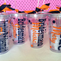 Set of 6 personalized acrylic cups with lids and straws. Great for wedding parties.