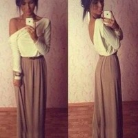 New 2015 Women Clothing Patchwork Long Sleeve Sexy Backless Maxi Dress Plus Size-in Dresses from Women's Clothing & Accessories on Aliexpress.com | Alibaba Group