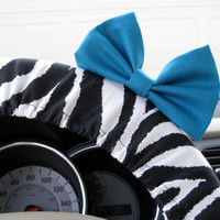 Zebra Steering Wheel Cover with Matching Teal Bow