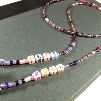 Purple and Pink Eyeglass Necklace with Alphabet Cubes, Let's Roll