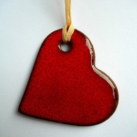 Christmas Red Heart Ceramic Ornamen.. on Luulla