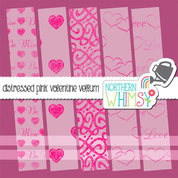 Distressed Pink Valentine Love Vellum Digital Paper Pack – distressed translucent velum papers for scrapbooking – instant download – CU OK
