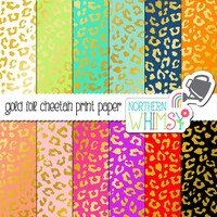 Gold Foil Cheetah Print Digital Paper Pack – metallic spots on bright colored papers for cards and scrapbooking – instant download – CU OK