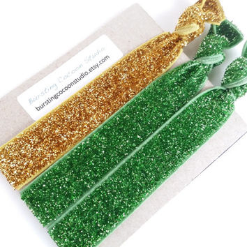 Green and Gold glitter hair ties, St. Patrick's day ponytail holders, green hair ties, gold accessory, gold hairties, yoga bracelet