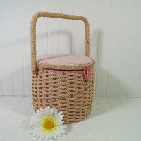 Shabby Chic Round Pink Natural Wicker Sewing Basket with Square Handle - Vintage Fabric Covered Bin with Pin Cushioned Floral Lid Carry All