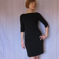 Little Black Dress  Vintage 80s Minimalist Jersy by ChatteJolie